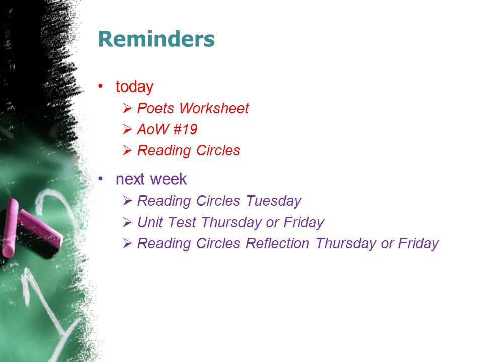 Reminders today next week Poets Worksheet AoW #19 Reading Circles
