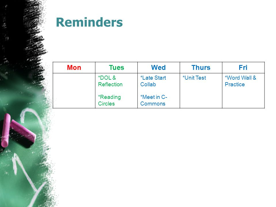 Reminders Mon Tues Wed Thurs Fri *DOL & Reflection *Reading Circles