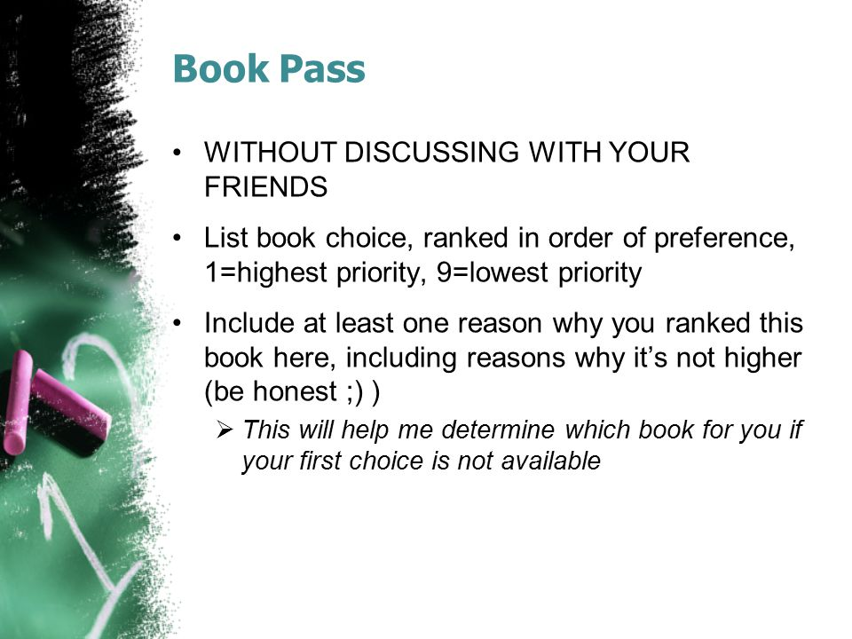 Book Pass WITHOUT DISCUSSING WITH YOUR FRIENDS