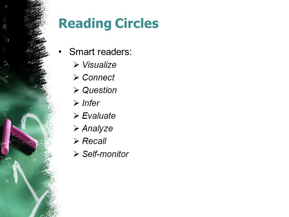 Reading Circles Smart readers: Visualize Connect Question Infer