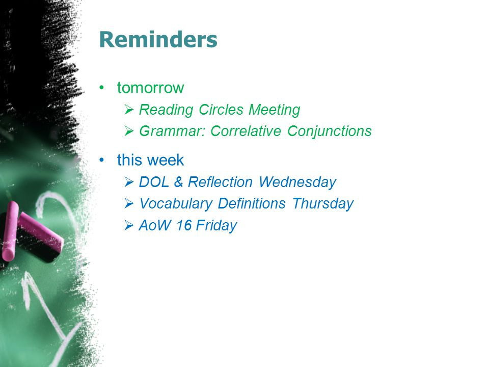 Reminders tomorrow this week Reading Circles Meeting