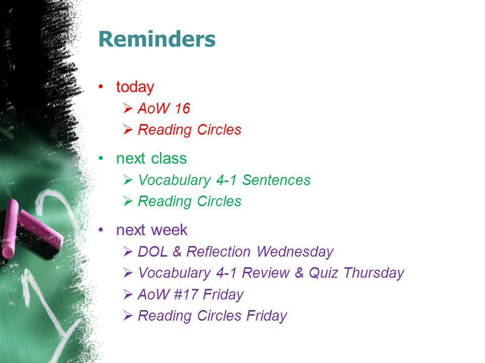 Reminders today next class next week AoW 16 Reading Circles