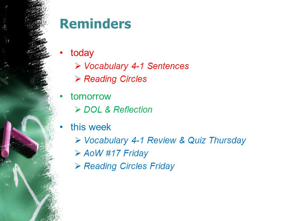 Reminders today tomorrow this week Vocabulary 4-1 Sentences