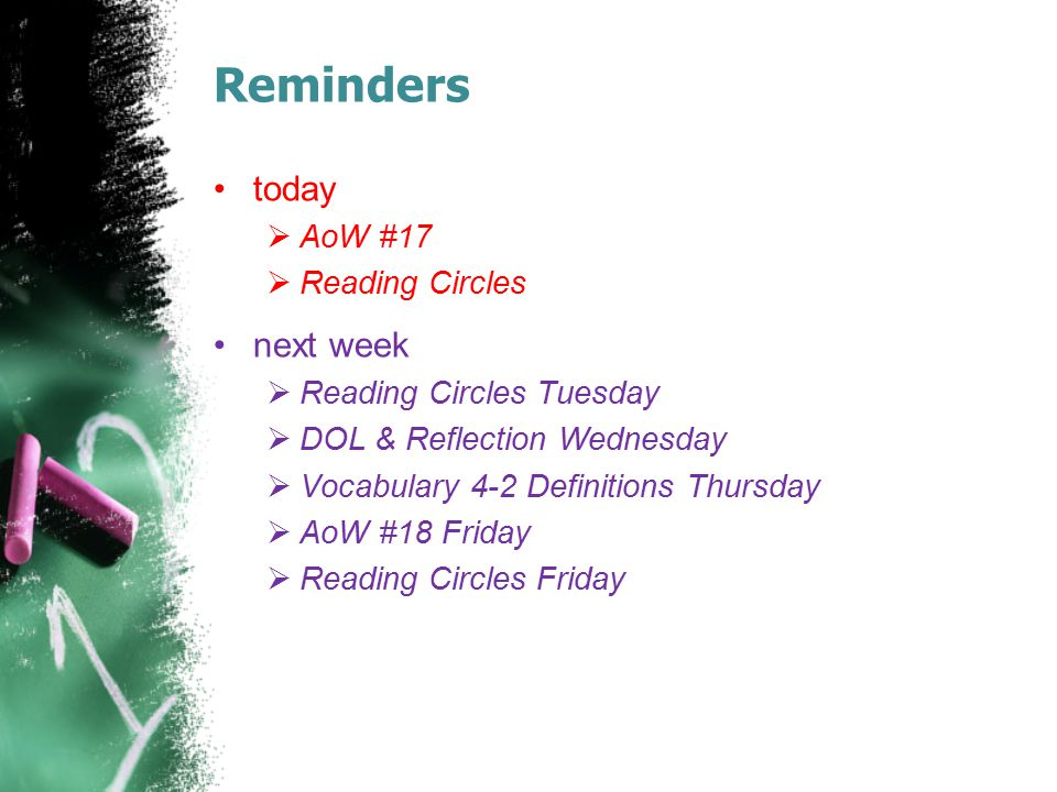 Reminders today next week AoW #17 Reading Circles