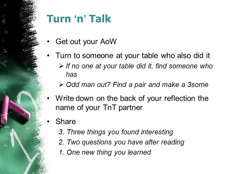 Turn 'n' Talk Get out your AoW