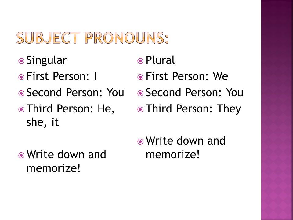 Subject Pronouns: Singular First Person: I Second Person: You