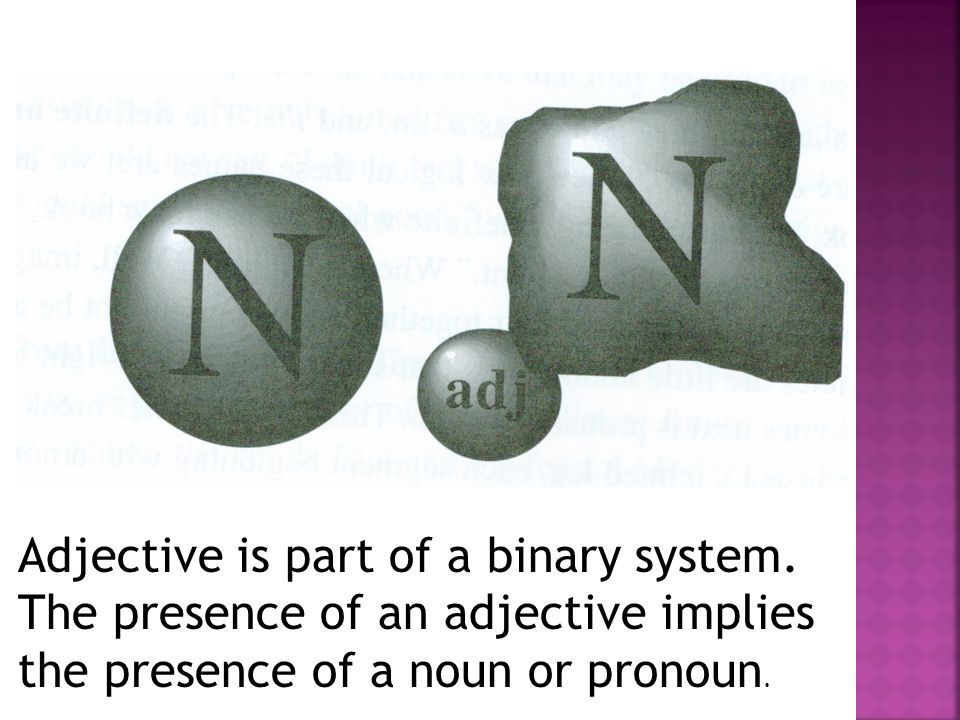 Adjective is part of a binary system