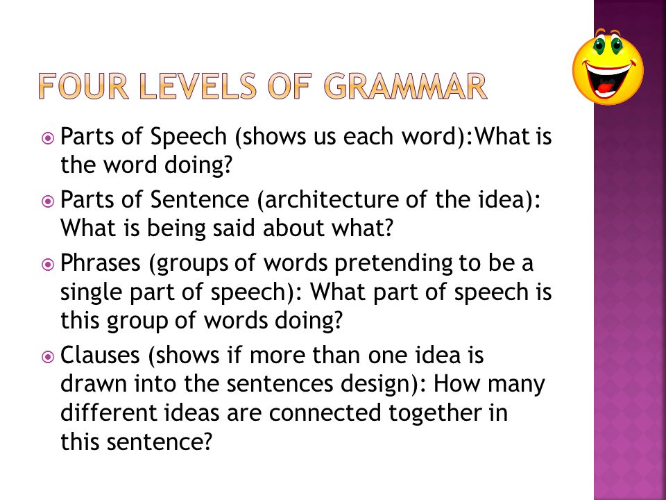 Four Levels of Grammar Parts of Speech (shows us each word):What is the word doing