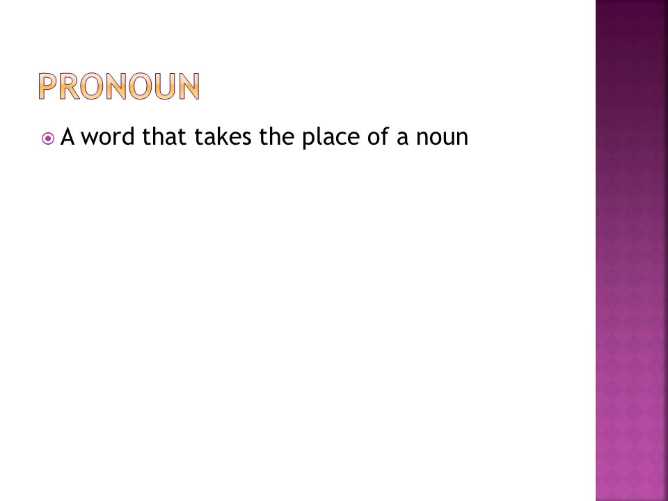 Pronoun A word that takes the place of a noun