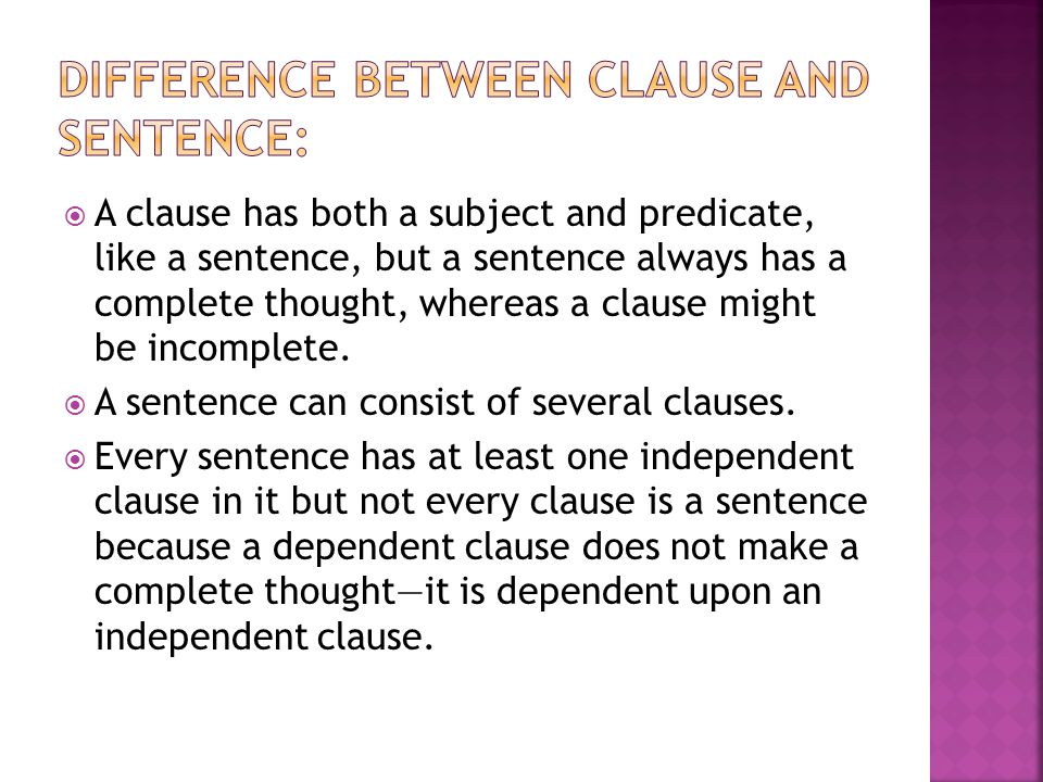 Difference between clause and sentence: