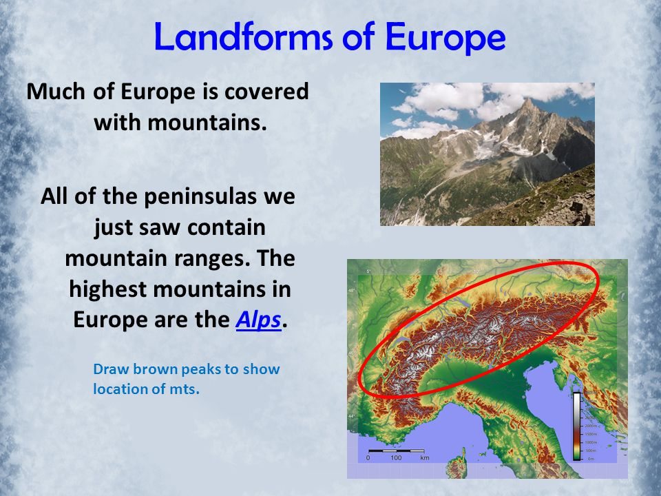 Much of Europe is covered with mountains.