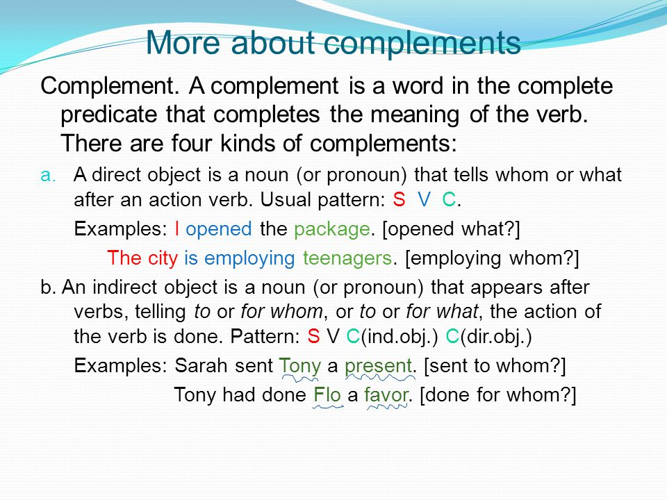 More about complements