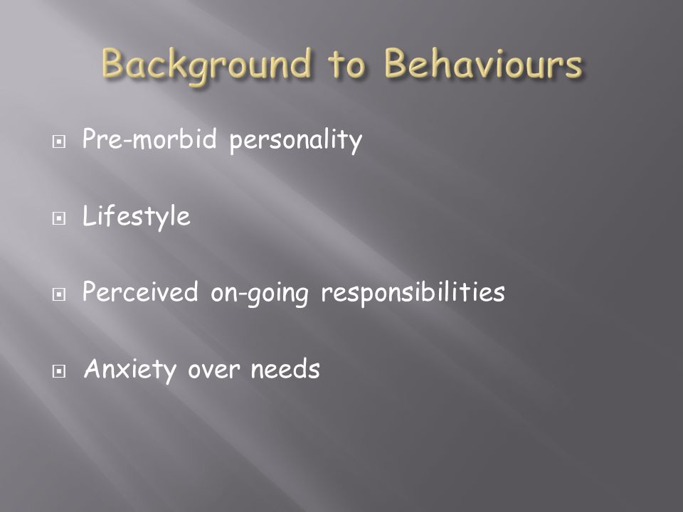 Background to Behaviours