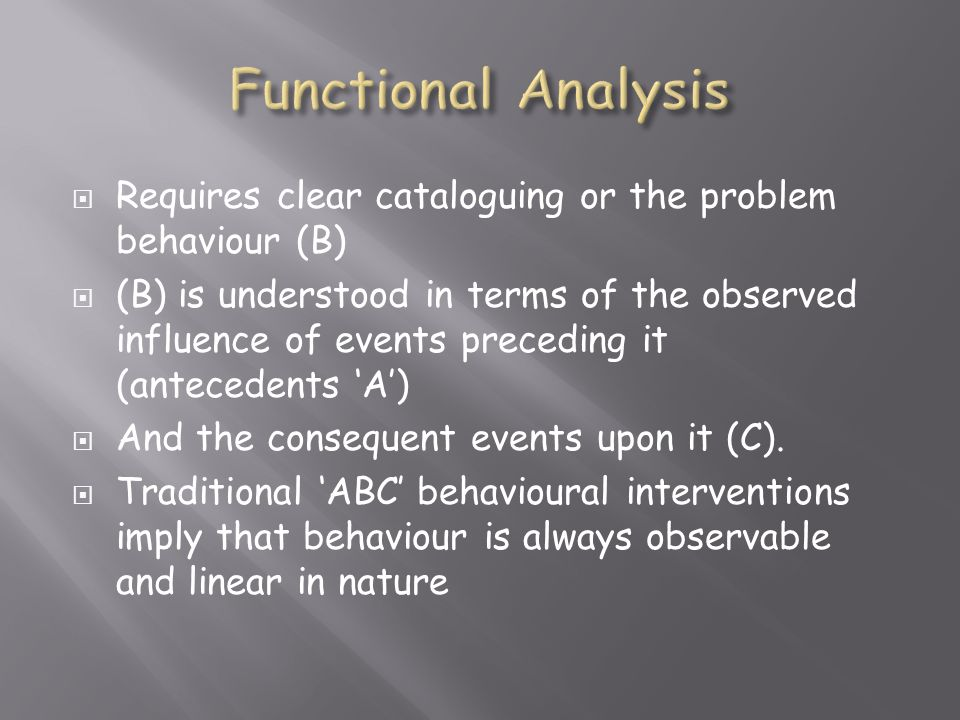 Functional Analysis Requires clear cataloguing or the problem behaviour (B)
