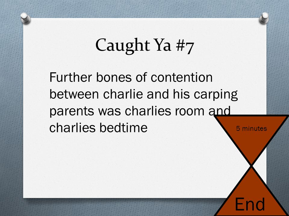 Caught Ya #7 Further bones of contention between charlie and his carping parents was charlies room and charlies bedtime.