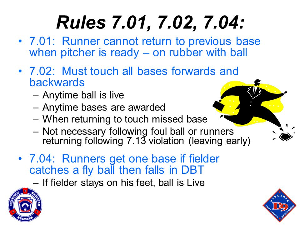 Rules 7.01, 7.02, 7.04: 7.01: Runner cannot return to previous base when pitcher is ready – on rubber with ball.