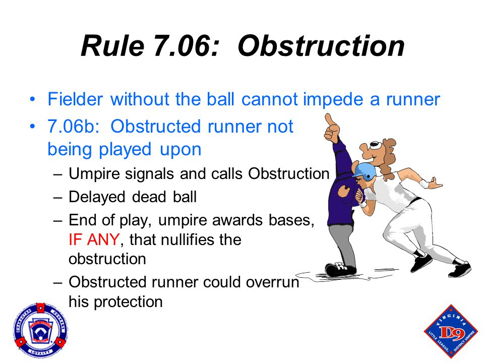 Rule 7.06: Obstruction Fielder without the ball cannot impede a runner