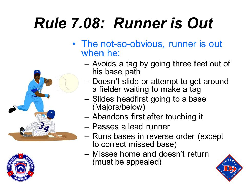 Rule 7.08: Runner is Out The not-so-obvious, runner is out when he: