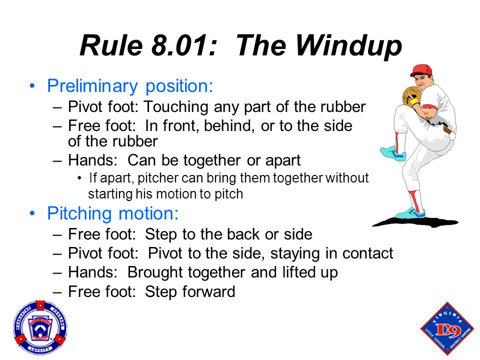 Rule 8.01: The Windup Preliminary position: Pitching motion: