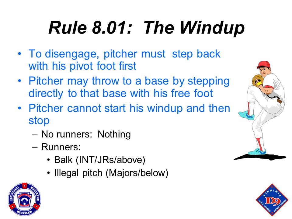 Rule 8.01: The Windup To disengage, pitcher must step back with his pivot foot first.
