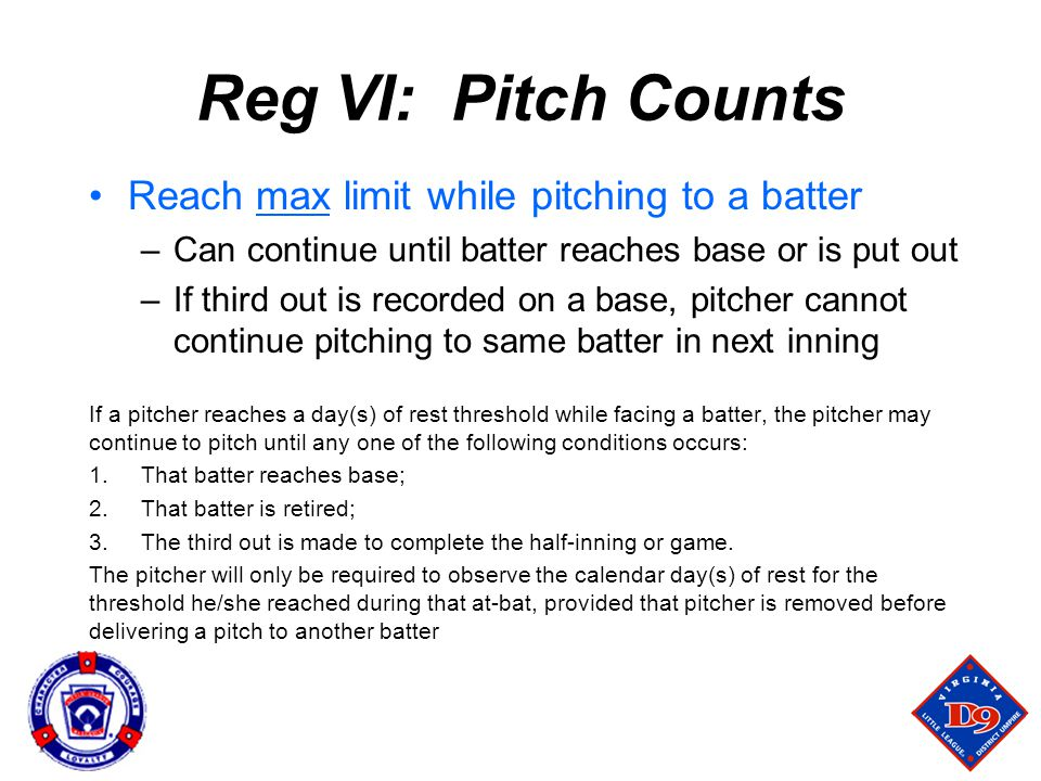 Reg VI: Pitch Counts Reach max limit while pitching to a batter