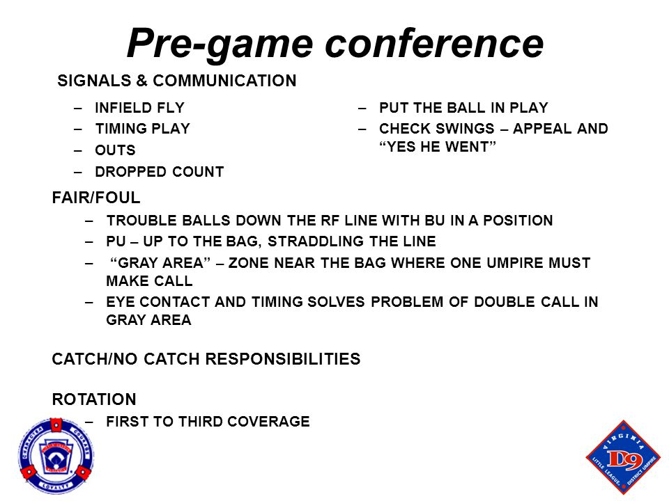 Pre-game conference SIGNALS & COMMUNICATION FAIR/FOUL