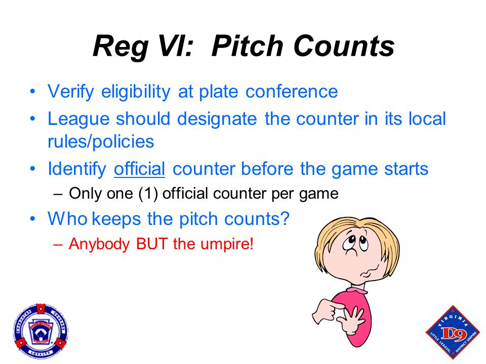 Reg VI: Pitch Counts Verify eligibility at plate conference