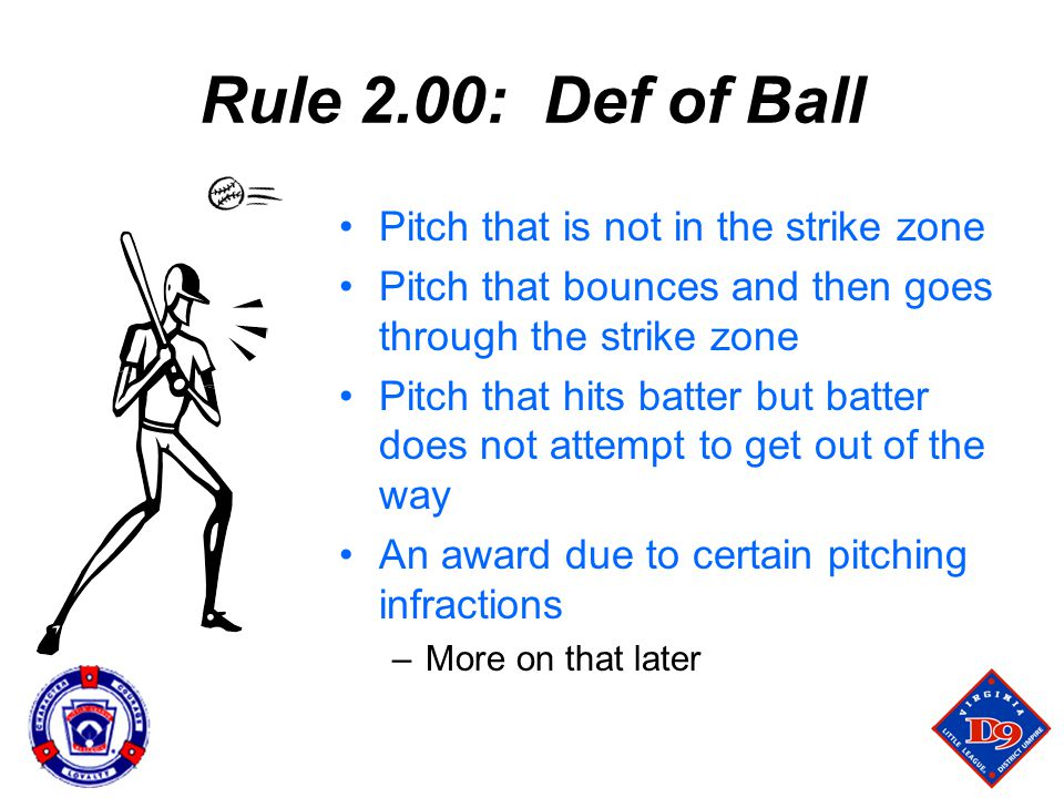 Rule 2.00: Def of Ball Pitch that is not in the strike zone