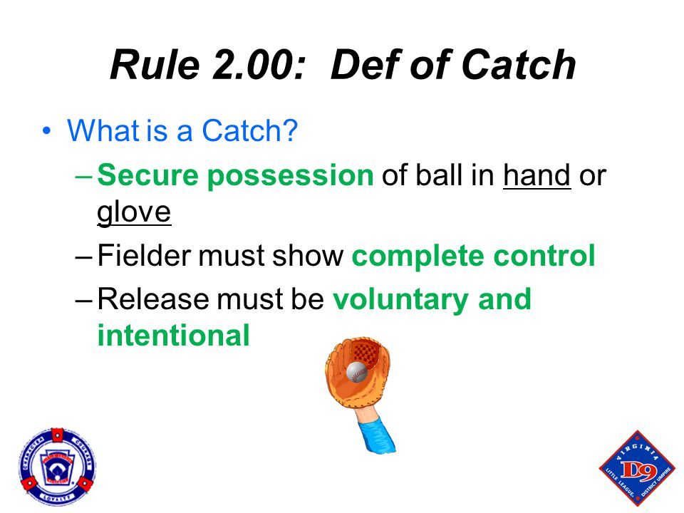 Rule 2.00: Def of Catch What is a Catch