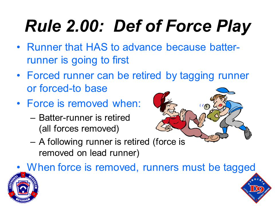 Rule 2.00: Def of Force Play Runner that HAS to advance because batter-runner is going to first.