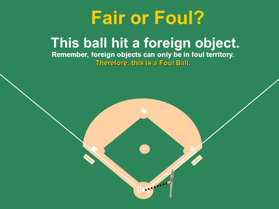 Fair or Foul This ball hit a foreign object.