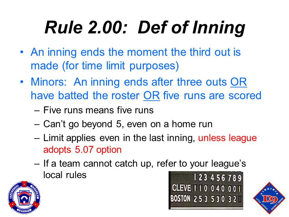 Rule 2.00: Def of Inning An inning ends the moment the third out is made (for time limit purposes)