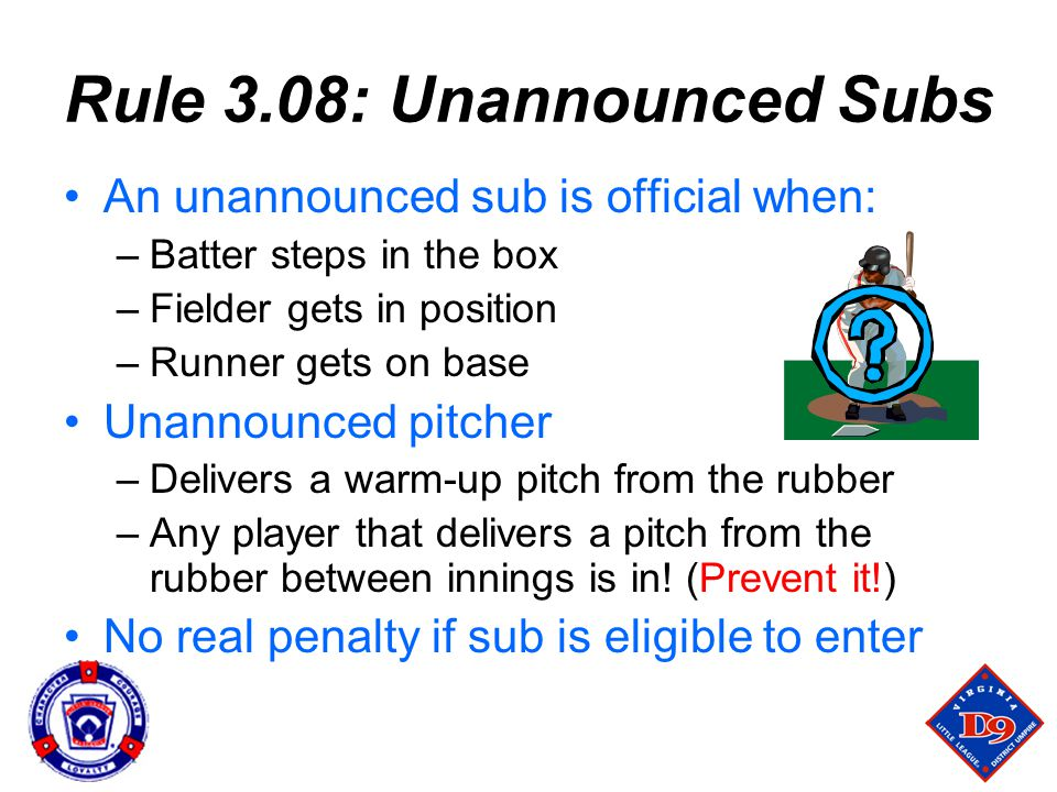 Rule 3.08: Unannounced Subs