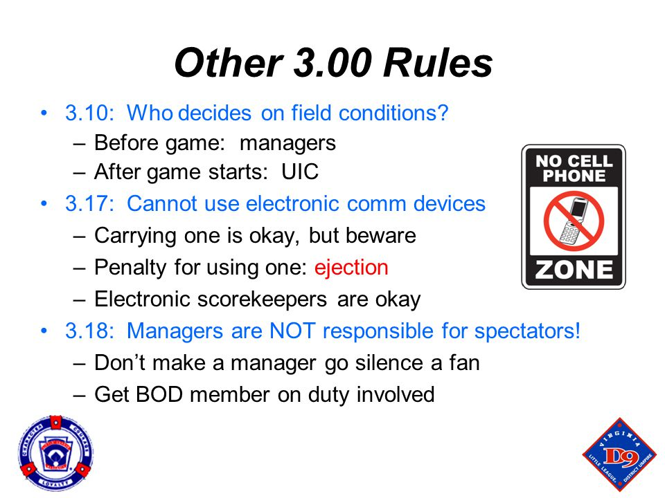 Other 3.00 Rules 3.10: Who decides on field conditions