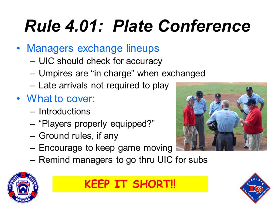Rule 4.01: Plate Conference