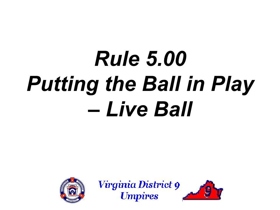 Rule 5.00 Putting the Ball in Play – Live Ball