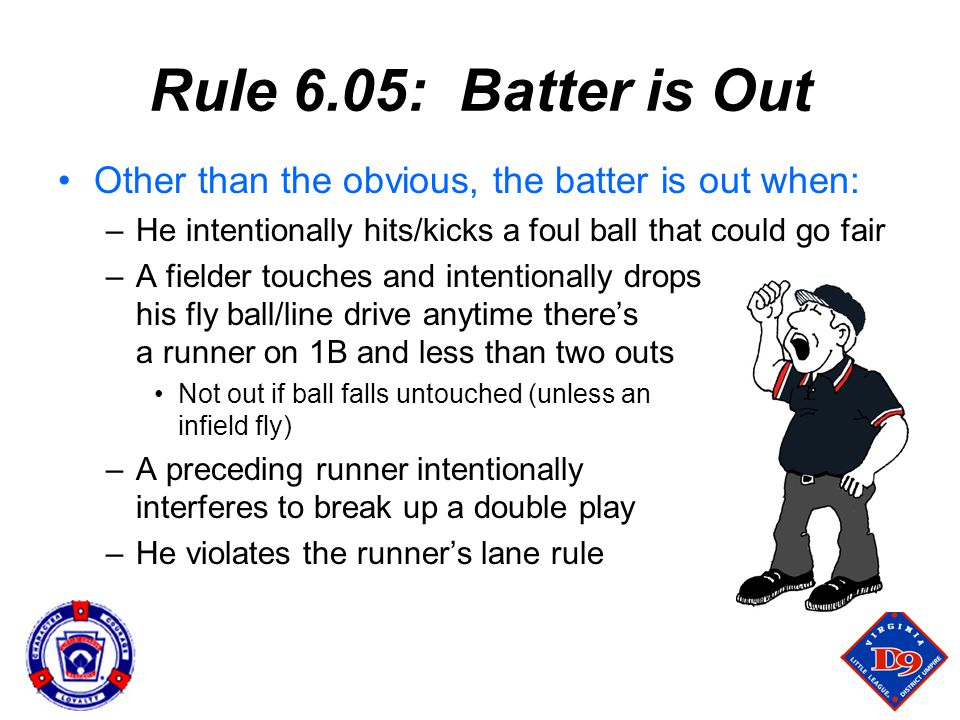 Rule 6.05: Batter is Out Other than the obvious, the batter is out when: He intentionally hits/kicks a foul ball that could go fair.
