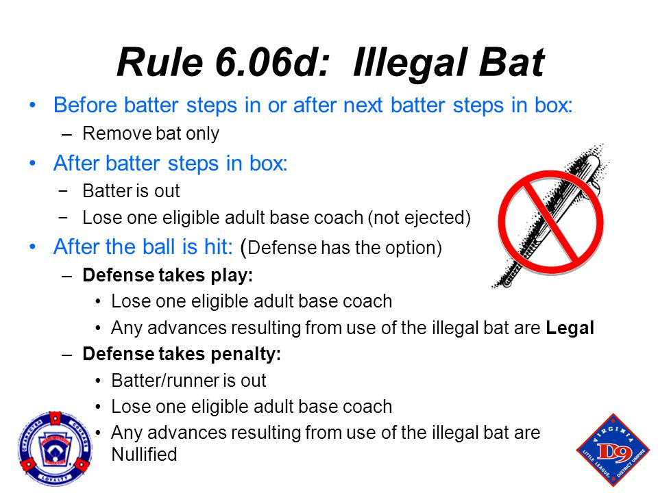 Rule 6.06d: Illegal Bat Before batter steps in or after next batter steps in box: Remove bat only.