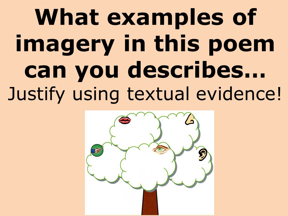 What examples of imagery in this poem can you describes… Justify using textual evidence!