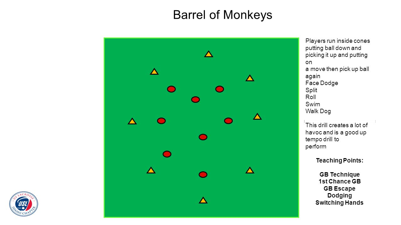 Barrel of Monkeys Players run inside cones