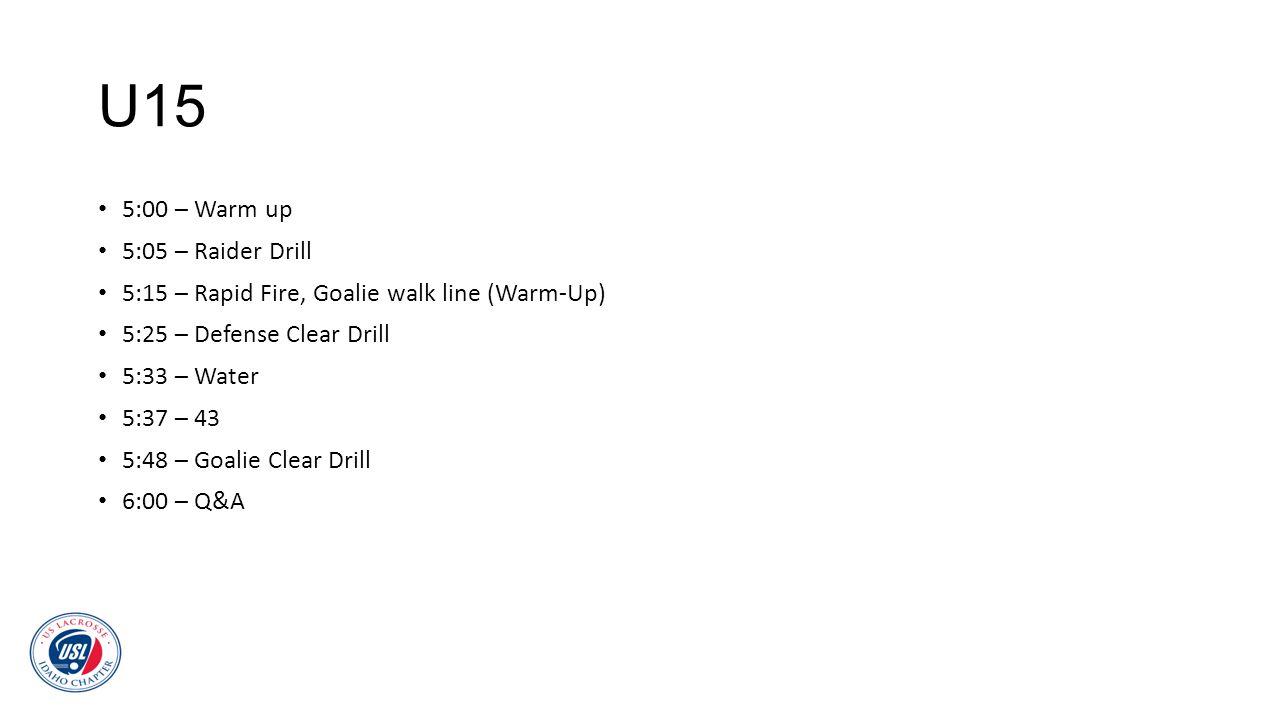 U15 5:00 – Warm up 5:05 – Raider Drill