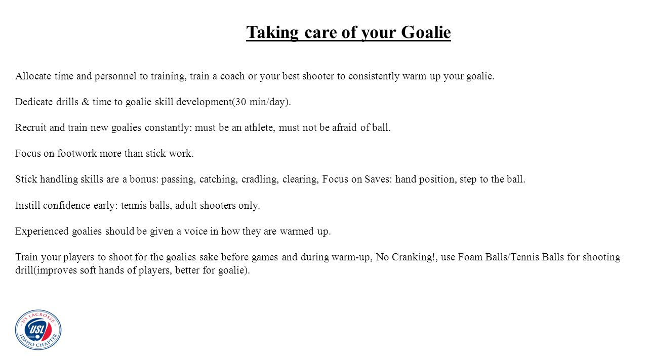 Taking care of your Goalie