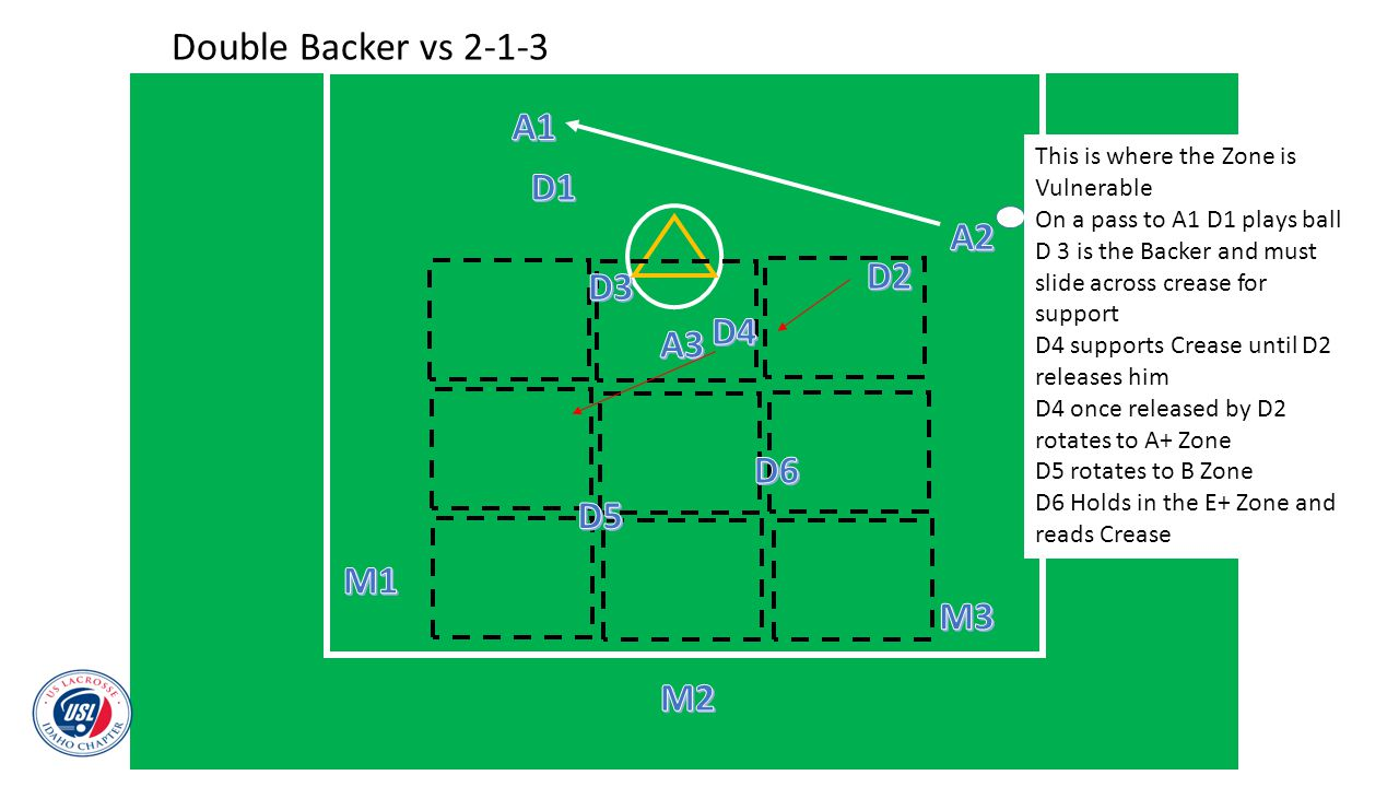 Double Backer vs 2-1-3 A1 D1 A2 D2 D3 D4 A3 D6 D5 M1 M3 M2