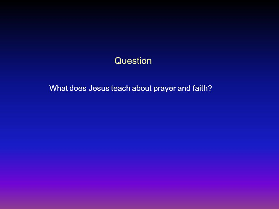 Question What does Jesus teach about prayer and faith