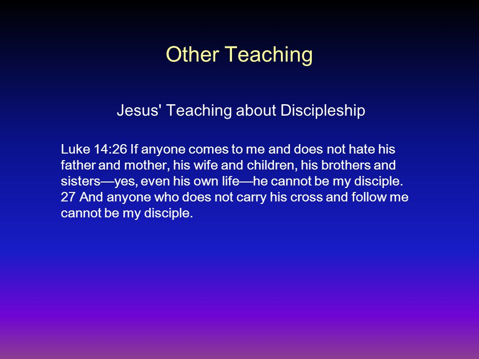 Jesus Teaching about Discipleship