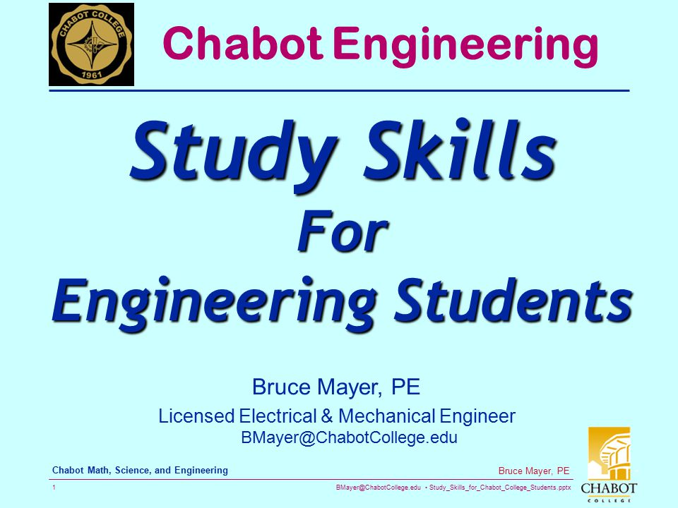 Licensed Electrical & Mechanical Engineer BMayer@ChabotCollege.edu