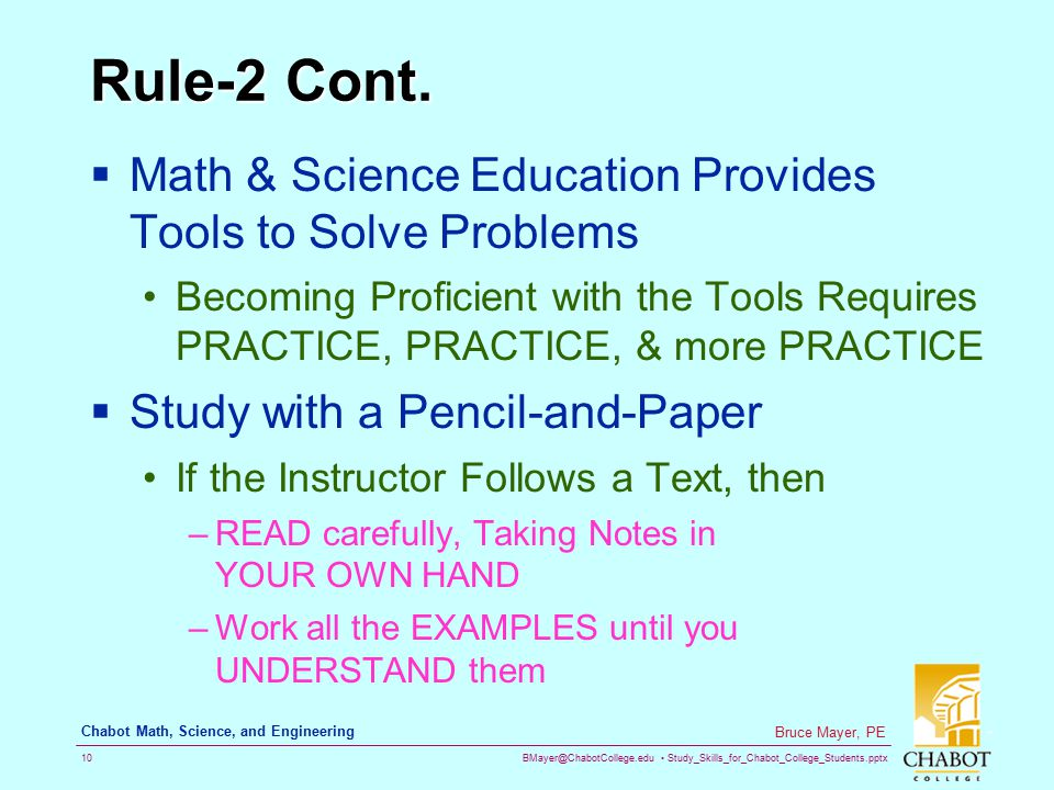 Rule-2 Cont. Math & Science Education Provides Tools to Solve Problems