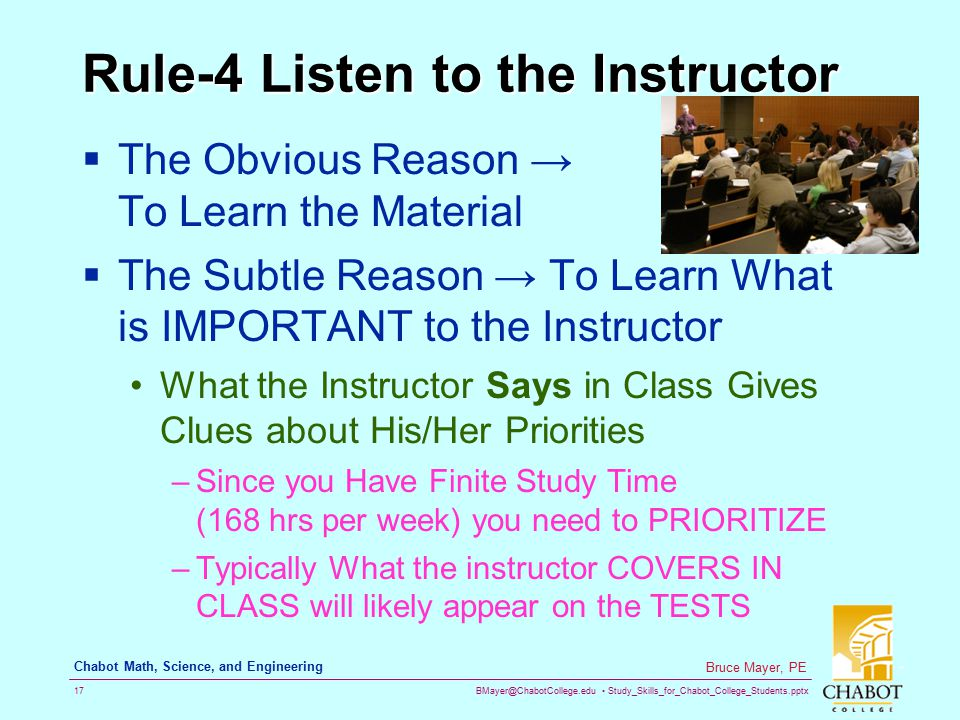 Rule-4 Listen to the Instructor
