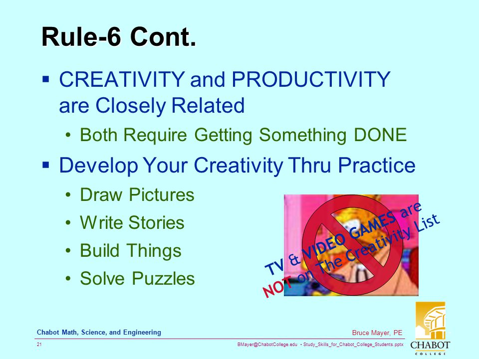 TV & VIDEO GAMES are NOT on The Creativity List
