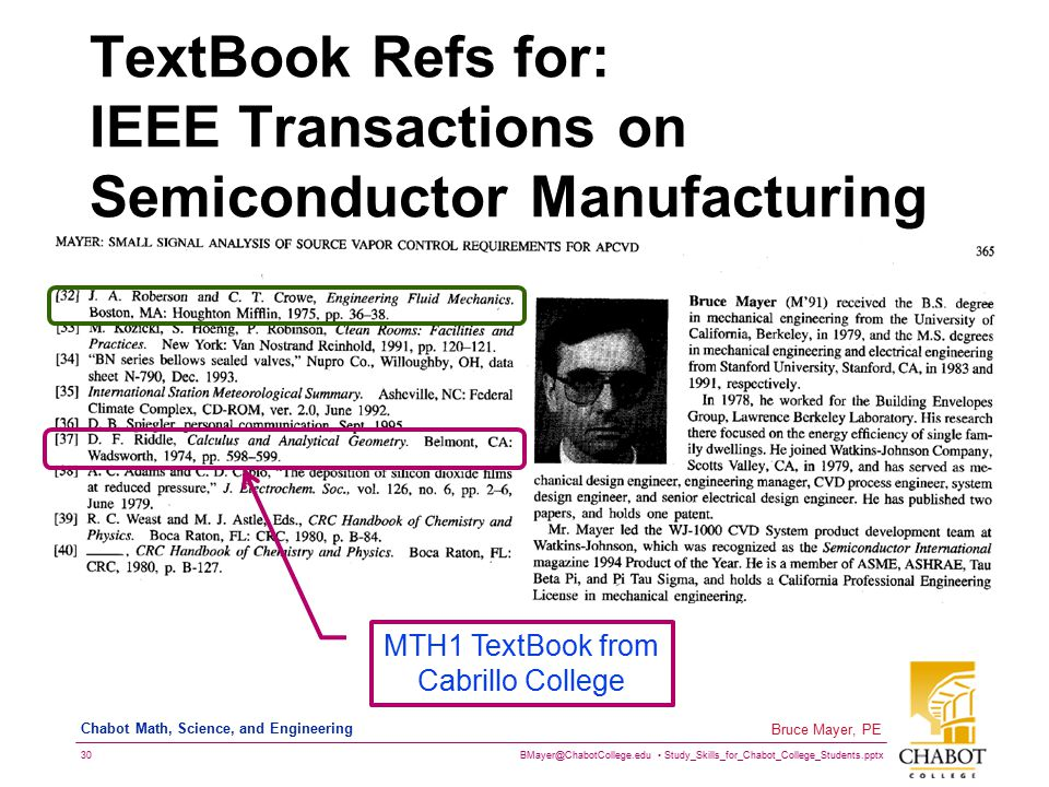 TextBook Refs for: IEEE Transactions on Semiconductor Manufacturing